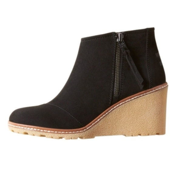 b901722986e TOMS Avery Microfiber Side Zip Wedge Booties